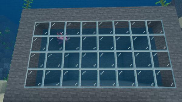 ウーパールーパー(海スポーン施設・側面ガラスでもスポーン確認)